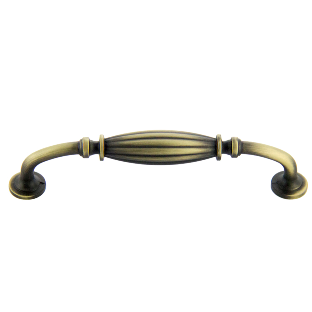 Antique Satin Brass Deco Pull 128mm CC